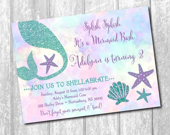 Mermaid Birthday Invitation printable/Digital File/Under the Sea,girl swim party, girl pool party, watercolor,glitter/Wording can be changed
