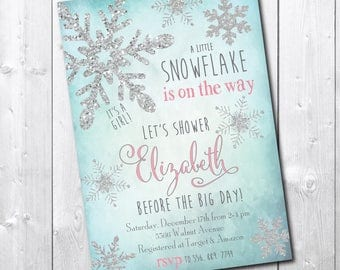 WINTER WONDERLAND Baby Shower Invitation printable/Winter girl invitation/little, snowflake, silver, glitter/Digital/wording can be changed