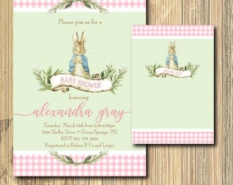 Peter Rabbit Invitation Baby Shower printable with Note/Digital File/Vintage Peter Rabbit, girl shower,beatrix potter/Wording can be changed