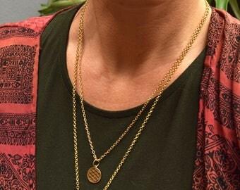 Flower Of Life Necklace, Sacred Geometry, Mandala Pendant, Brass Necklace, Yoga Jewellery, Boho Necklace, Layering Necklace