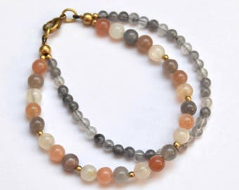 Mixed Moonstone Bracelet, Smokey Quartz Bracelet, Boho Bracelet, Gemstone Bracelet, Beaded Bracelet