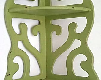 Vintage green scrollwork corner shelf -Shabby Chic/country/primative