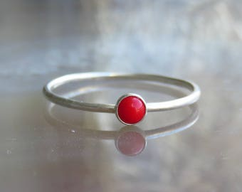 Silver coral ring / skinny gemstone ring / red stone ring /