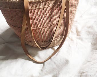 Jute bag, market bag, woven bag, woven jute, striped, leather straps, pink and tan, boho bag, beach bag, jute purse, woven purse, bohemian