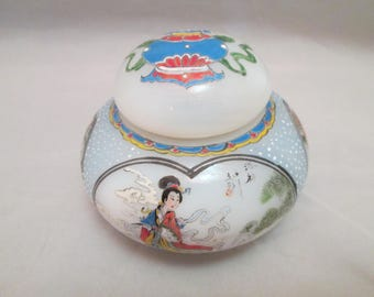 Chinese Antique Vintage Lidded Jar Opalescent Glass Hand Painted Artist Signed Oriental Asian Spice Vanity Hair Jar