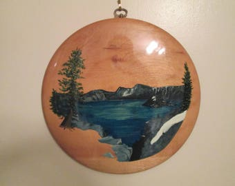 Vintage Hand Painted Myrtlewood Wall Art Plaque Unique Painting From Oregon Mountains Water Trees Seashore