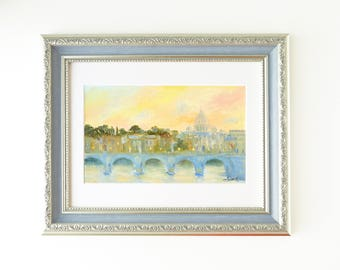 Rome painting Original framed painting Italy gift Vatican painting St Peters basilica Europe travel Italy painting Rome cityscape ornament