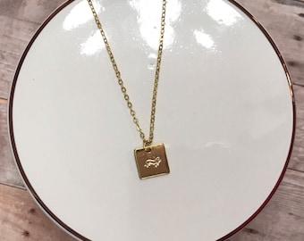 Handstamped Dachsund Necklace
