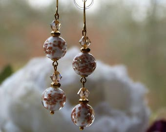 Earrings white glass beads opaque with aventurine and Swarovski crystals