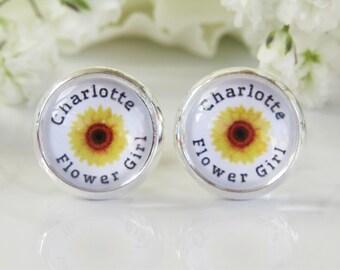 Yellow Sunflower Flower Girl Personalised Name Floral Earrings Weddings Accessories Stud or Clip On Earrings Pretty Flowergirl Gift