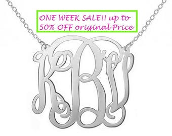 "SALE 1 inch Any Initial Silver Monogram Necklace, 1"" ( small) in Personalized Monogram 925 sterling silver"