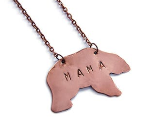mother gift from son, mothers day gift - hand stamped - new mom gift - gift for mom - mama bear necklace  - mama bear jewelry - hand stampet