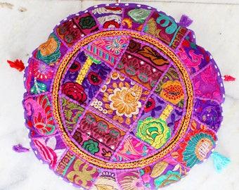 Handmade Round Floor Cushion Cover, Home decorative Patchwork Gypsy Roundies, Handmade Beautiful Boho Poufs Floor Cushion Cover