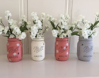 Four Painted and Distressed Mason Jars Floral Arrangement Table Centerpiece Wedding Decor Shabby Chic Decor Beach Decor Country Wedding