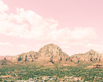 Large Desert Print, Mountain Landscape, Sedona,  Arizona Art, Whimsical Desert Print, Modern Art Print, Pink, Mountain Photography