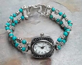 Beaded Turquoise Watch Bracelet, Turquoise Jewelry, Aqua Bracelet Watch, Gemstone Watch Bracelet,Gemstone Jewelry,Quartz Watch, Ladies Watch