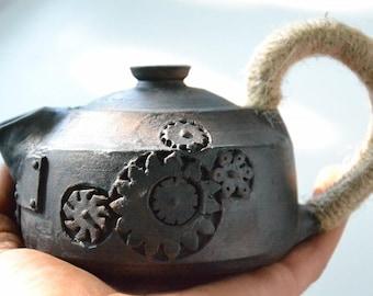 Ceramic teapot, Clay tea pot, Small teapot, Steampunk teapot, Pottery teapot, Gift teapot, Teapot for man, ceramic tea pot