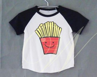 French fries tshirt short raglan shirt kids /off white tshirt toddlers 12M/2T/ 4T/ 6-10 years