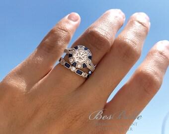 3.08 ct.tw Art Deco Halo Blue Sapphire Bridal Set Ring-Brilliant & Baguette Cut Diamond Simulant-Anniversary Ring-Sterling Silver [65368-2]