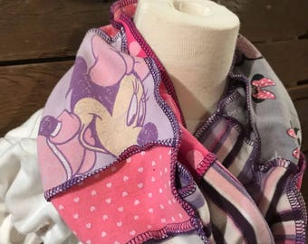 Minnie Mouse Girls/Tween Upcycled Disney Tshirt Inifinty Scarf