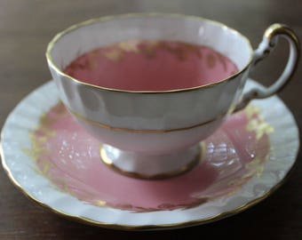 Vintage Light Pink and Gold AYNSLEY England Bone China Tea Cup and Saucer