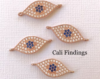 18K Rose Gold Plated Evil Eye Cz Pave Connector, Rose Gold Evil Eye Connector, Evil Eye, Protection, Pave Charm, Rose Gold Eye Charm []