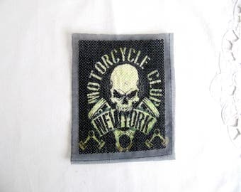 Printed  Skull Patch,Printed Skull Applique,Sequin Skull patch,Green Printed Skull with Sequin