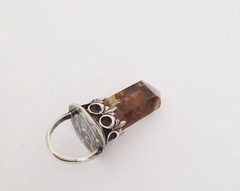 Smoked lodolite quartz, Smoky quartz pendant, Silver and stone pendant,  talisman silver pendant , Amulet, Pendulum