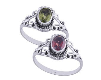 Hydra garnet and peridot silver ring