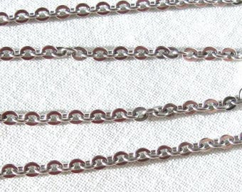 24 Inch, 3mm Flat Oval Links, Stainless Steel, Cable Necklace Chain