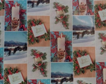 Vintage Christmas Wrapping Paper  ~ scrap booking paper ~ decoupage paper ~ decorative paper ~ Candles  & snow scenes design