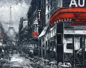 "24""x 36"" Black and White Vintage Streets of Paris. Hand painted oil on canvas-stretched."