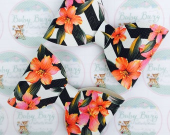 Black and White Chevron Floral Bow -Hairbows-Hairbands-Bows-Girls Hairbow