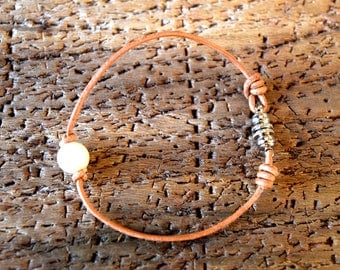 Natural Cord and Pearl / Bracelet / Leather Cord Bracelet / Freshwater Pearl