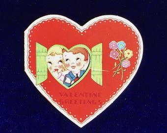 1930's Valentine Card Boy & Girl in Window