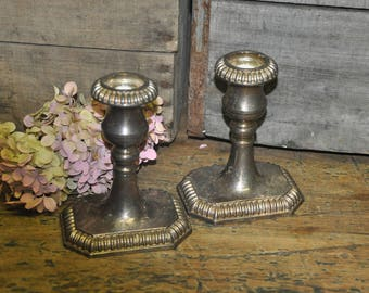 Set of 2 VINTAGE Silver Plate Candle Holders   Made in Italy