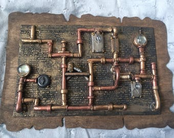 Exceptional OOAK Steampunk Wall Art Plaque Part 9