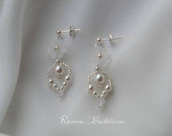Wedding earrings pearls and Swarovski crystals, white earrings - bridal earrings, silver jewelry, flower earrings