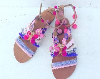 POM POM Sandals, Boho Greek Sandals,Gladiator Sandals, Peboho sandals, Leather Sandals, Bohemian sandals, Gipsy sandals, Handmade,bohem