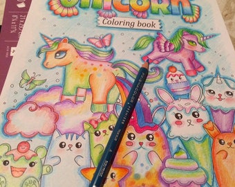 the unicorn coloring book - inspirational and feel good coloring book full of kawaii creatures and unicorns