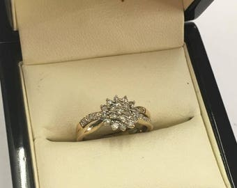 9ct Yellow Gold Diamond Cluster Ring Size K 1/2