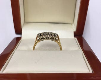 Vintage 9ct Yellow Gold 4 Stone Diamond Ring Size J 1/2