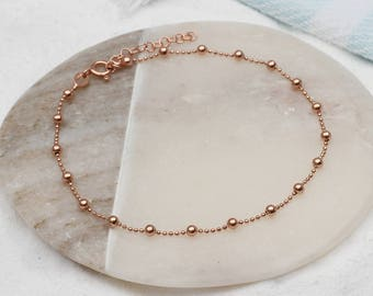 Personalised Sterling Silver And Gold Ball Anklets