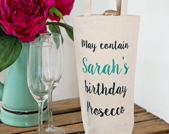 Personalised prosecco or wine bag with super thick cotton