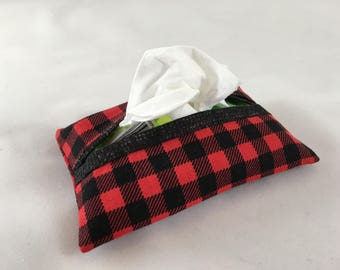 Buffalo Plaid Pocket Tissue Holder, Red and Black Checkered Travel Tissue Fabric Case, Purse Tissue Holder, Bag Accessory, Tissue Cozy Pouch