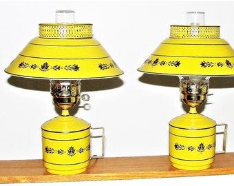 2 Metal Table Lamps Very Cool Retro Metal Mustard Color Lamp Tower Lamps  Bedroom NICE