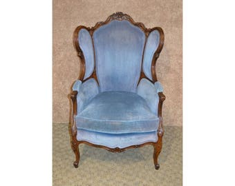 Vintage Ornate French Style Velvet Wing Chair