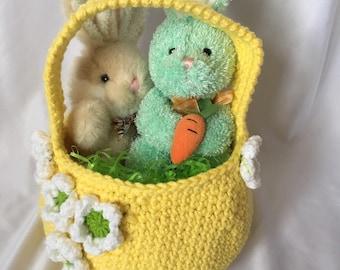 Crochet Flower Easter Basket