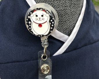 Lucky Cat Badge Reel/Velcro Backed Cover/Interchangeable/Both Paws Up Badge Reel