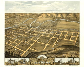 Decorah Iowa Panoramic Map dated 1870. This print is a wonderful wall decoration for Den, Office, Man Cave or any wall.